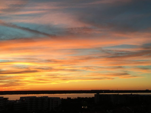 Sunset over Halifax River from Daytona Beach oceanfront condos